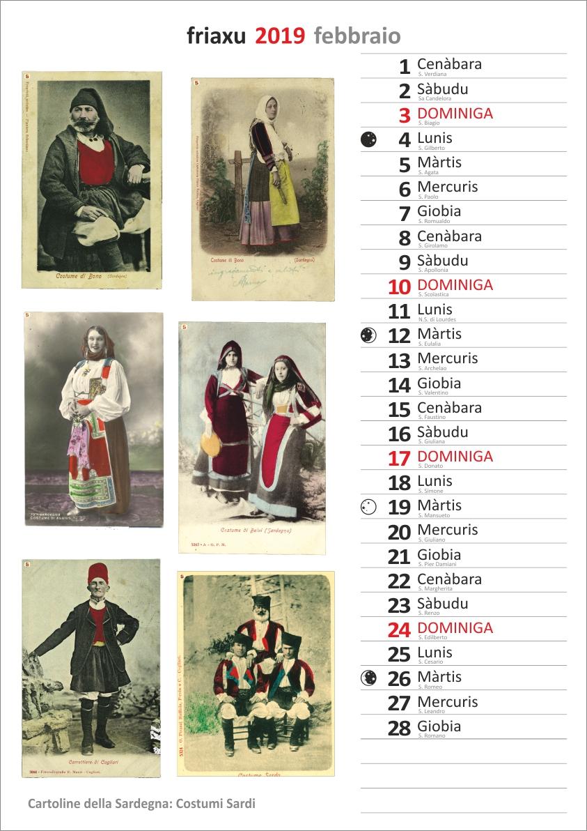 Calendario 2020 Mensile Da Stampare Gratis.2019 In Sardo 292